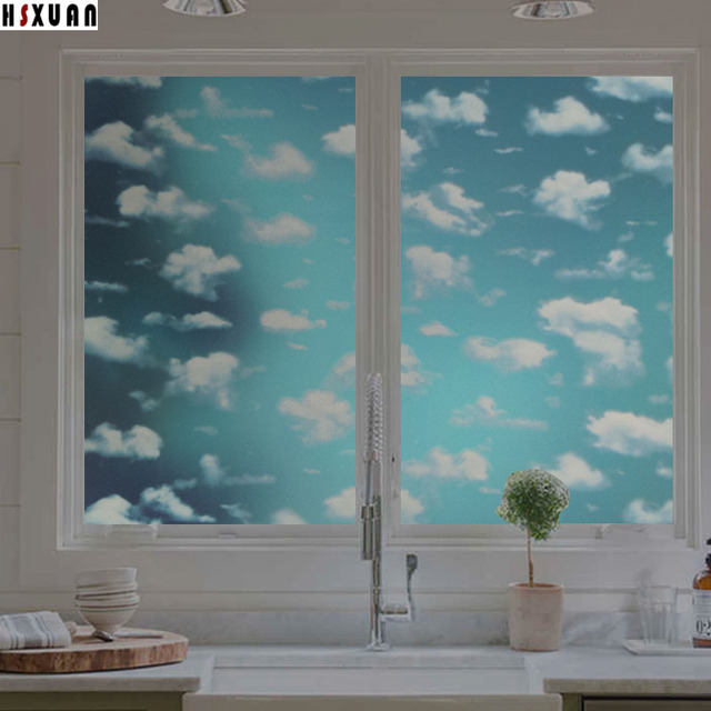 decorative window film residential sky cloud decorative window film sunscreen 45x100cm opaque frosted selfadhesive glue glass window