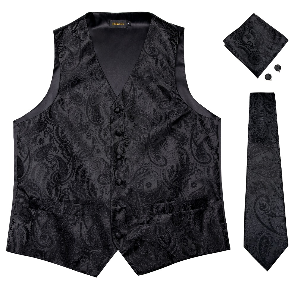 DiBanGu Men's Black Paisley Waistcoat Vest Pocket Square Tie Cufflinks Hanky Suit Set For Men Wedding Party Business MJ-109
