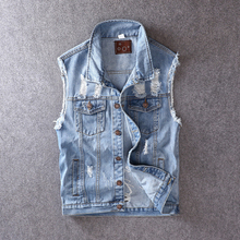 British Style Fashion Men Vest Blue Embroidery Ripped Denim Vests Outwear Casual Coat Streetwear Hip Hop Sleeveless Jackets