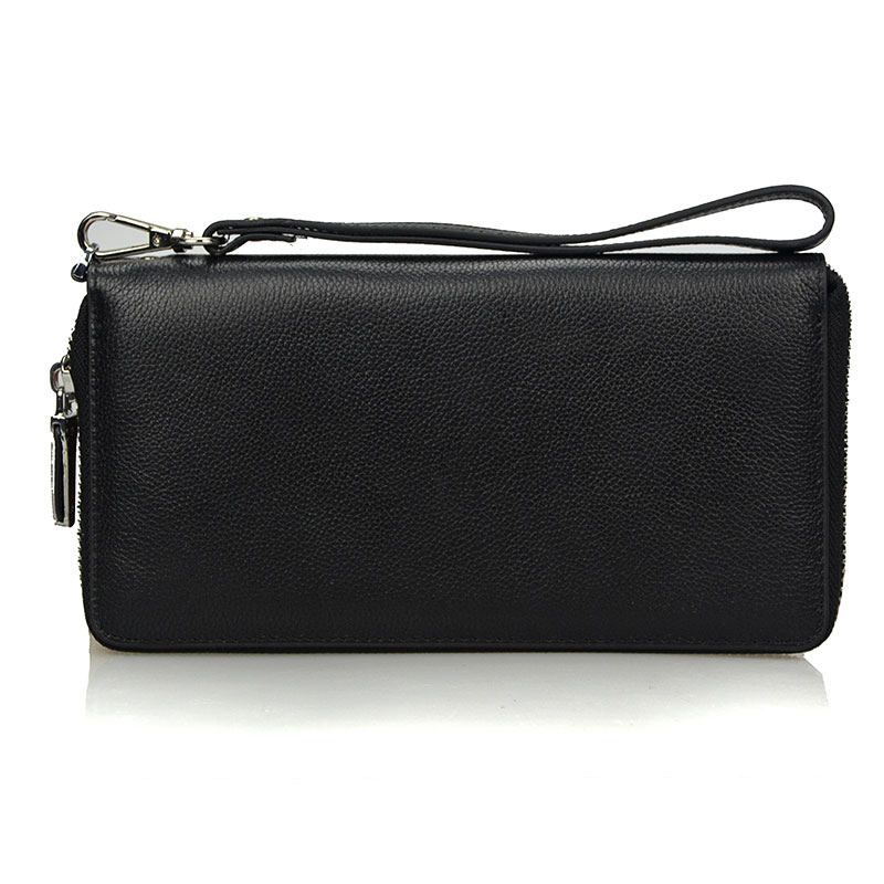 Brand Genuine Leather Long Wallet Men Female Male Cuzdan with Male Zipper Business Clutch Walet Handy Coin Purse Rfid PORTFOLIO brand double zipper genuine leather men wallets with phone bag vintage long clutch male purses large capacity new men s wallets