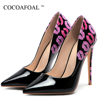 COCOAFOAL Women's High Heels Bride Shoes Woman Valentine Shoes Lips Doodling Heels Shoe Fashion Sexy Party White Wedding Pumps