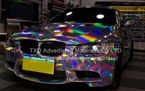 Image 3 - Premium Silber Laser auto wrap film holographische Regenbogen Aufkleber Auto styling film schwarz silber chrom vinyl probe Freies schiff