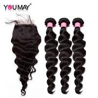 Вы можете бразильский свободная волна Связки с закрытием человеческих волос Weave Связки с закрытием 4x4 Волосы remy расширение с для Волос