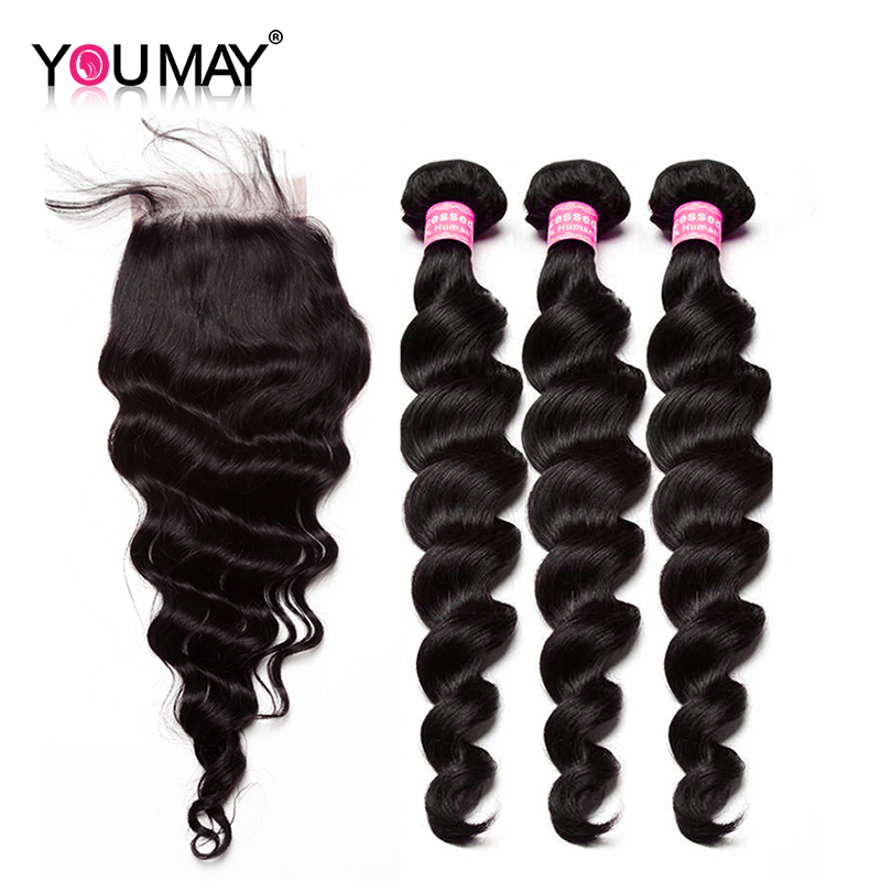 Loose Wave Hair 3 Bundles With Closure Brazilian virgin Hair Weave bundles 100% Human Hair Bleached Knots With Baby Hair You May