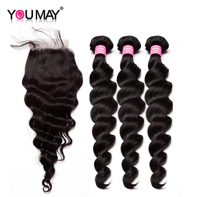 You May Brazilian Loose Wave Bundles With Closure Human Hair Weave Bundles With Closure 4x4 Remy Hair Extension With Baby Hair