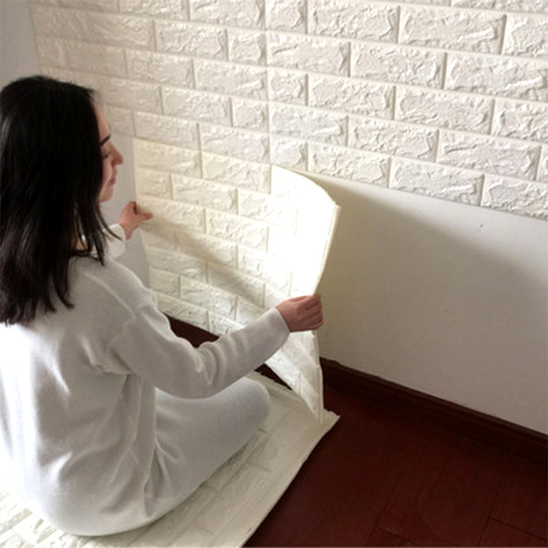 70*77cm 3D PE Foam Brick Self Adhesive Wall Stickers DIY Living room Bedroom Safty Home Decor Wallpaper kids room Sticker