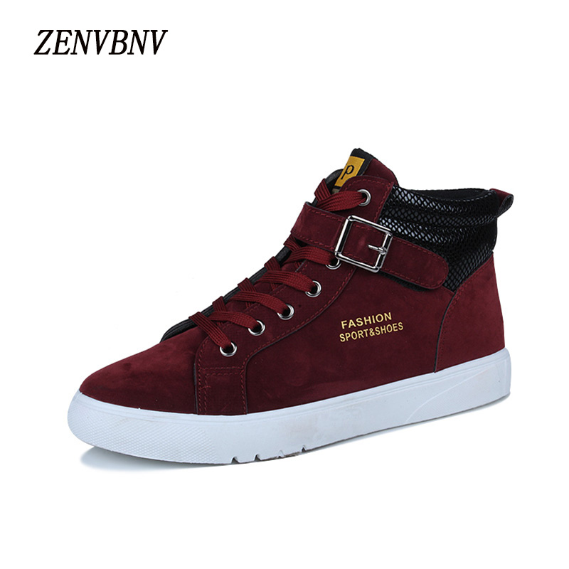 ZENVBNV New 2017 High Quality Men Leather Shoes Fashion High top Men's Casual Shoes Comfortable Man Lace up Brand Shoes Winter 2017 spring brand new fashion pu stretch fabric men casual shoes high quality men casual shoes lace up casual shoes men 1709