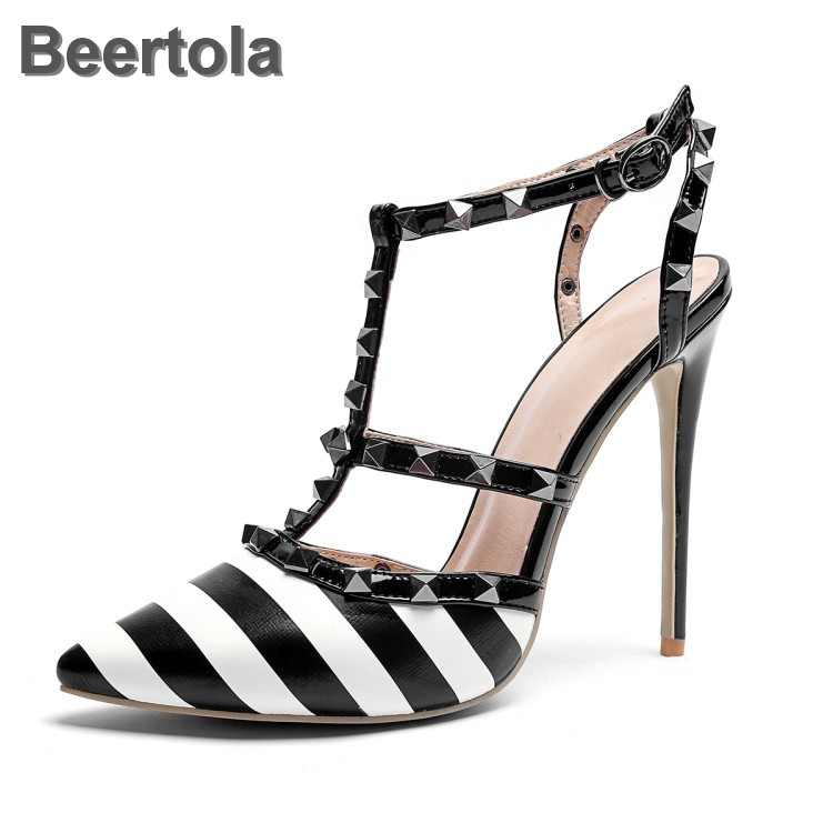 Leather Sandals Women Sexy Thin Heels Summer Sandals Rivet Buckle Strap Dress Party Shoes Woman Black Striped Sandalia Feminina
