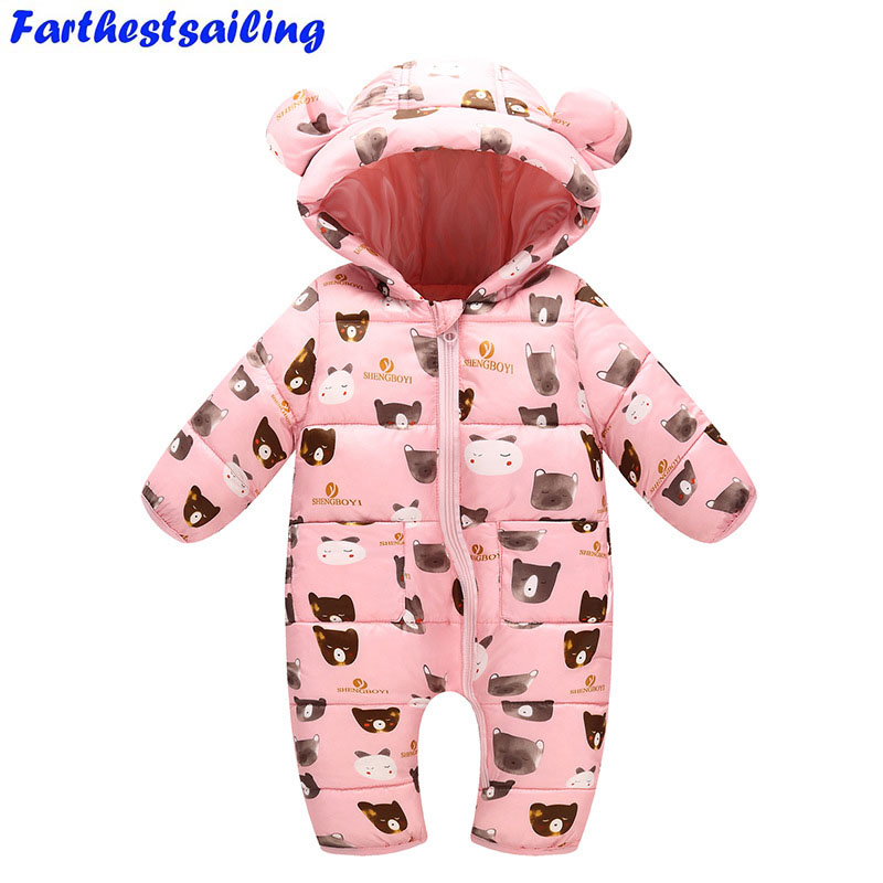 2018 Spring Newborn Baby Girls Rompers Kids Winter Thick Warm Overalls Toddler Hooded Jumpsuit Kids Outwear Boys Cotton Clothing