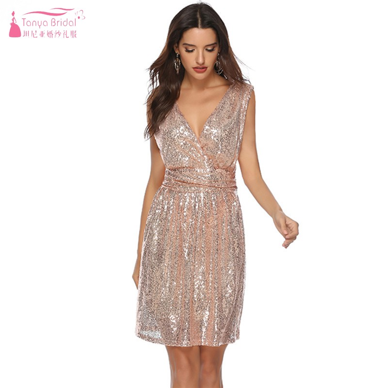 A Line V Neck Knee Length Gold Silvery Cocktail Dresses Sequined Simple Party Homecoming Dress Gown Dqg735 Weddings & Events