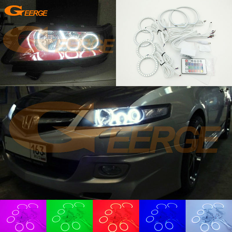 For honda accord CL7 2002 2003 2004 2005 2006 2007 Excellent Angel Eyes Multi-Color Ultra bright RGB LED Angel Eyes kit kingsun rear adjustable ball joint camber control suspension arm kit for 1990 1997 honda accord acura cl tl1996 1999 blue