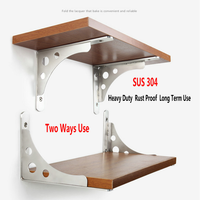 HQ SB02 2PCS 6-16INCH SUS304 Stainless Steel Shelf Bracket Up Down Hold Rack Two Ways Use Right Angle L Shape Thicken Bracket HQ SB02 2PCS 6-16INCH SUS304 Stainless Steel Shelf Bracket Up Down Hold Rack Two Ways Use Right Angle L Shape Thicken Bracket