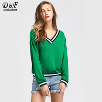 Dotfashion Contrast Striped Trim V Neckline Woman Sweatshirt Pullover Green Long Sleeve Top New 2017 Autumn