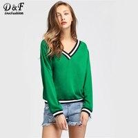Dotfashion Contrast Striped Trim V Neckline Woman Sweatshirt Pullover Green Long Sleeve Top New 2017 Autumn