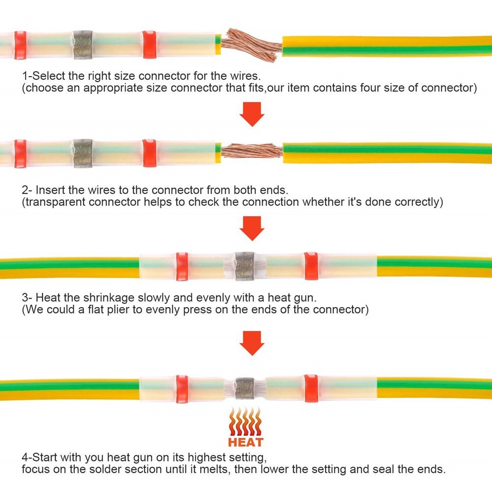 10 шт. практичный электрический водонепроницаемый уплотнение термоусадочные стыковые клеммы припой рукав провода разъемы