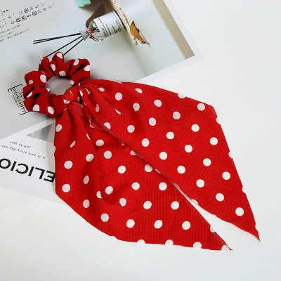 ฤดูร้อน Bohemian ผมผ้าพันคอผู้หญิง Hairband Dot พิมพ์รูปแบบดอกไม้ผม Tie Scrunchie ผมยางเชือก