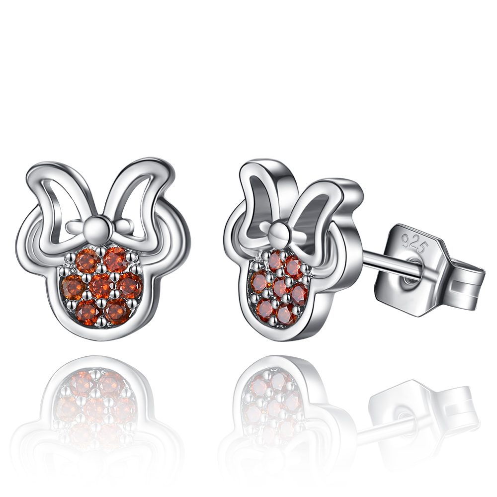 Online Shop New Arrival Cute Earring Sets 925 Sterling Silver Minnie Orange  Crystal Stud Earrings For Women Best Friend Birthday Gifts  Aliexpress  Mobile