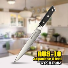 SS-0045 8 Inch (200mm) Slicing Knife 3 Layers AUS-10 Japanese Stainless Steel G10 Black Kitchen Blade Chef Cleaver