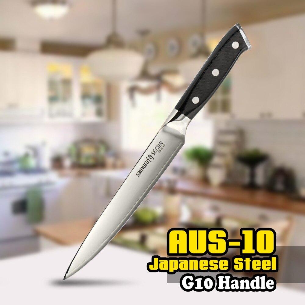TUO BESTECK Schneiden Messer-AUS-10 Japanischen 3 Schichten Carving Kitcehn Messer mit Ergonomische G10 Griff-8 Zoll (203mm)