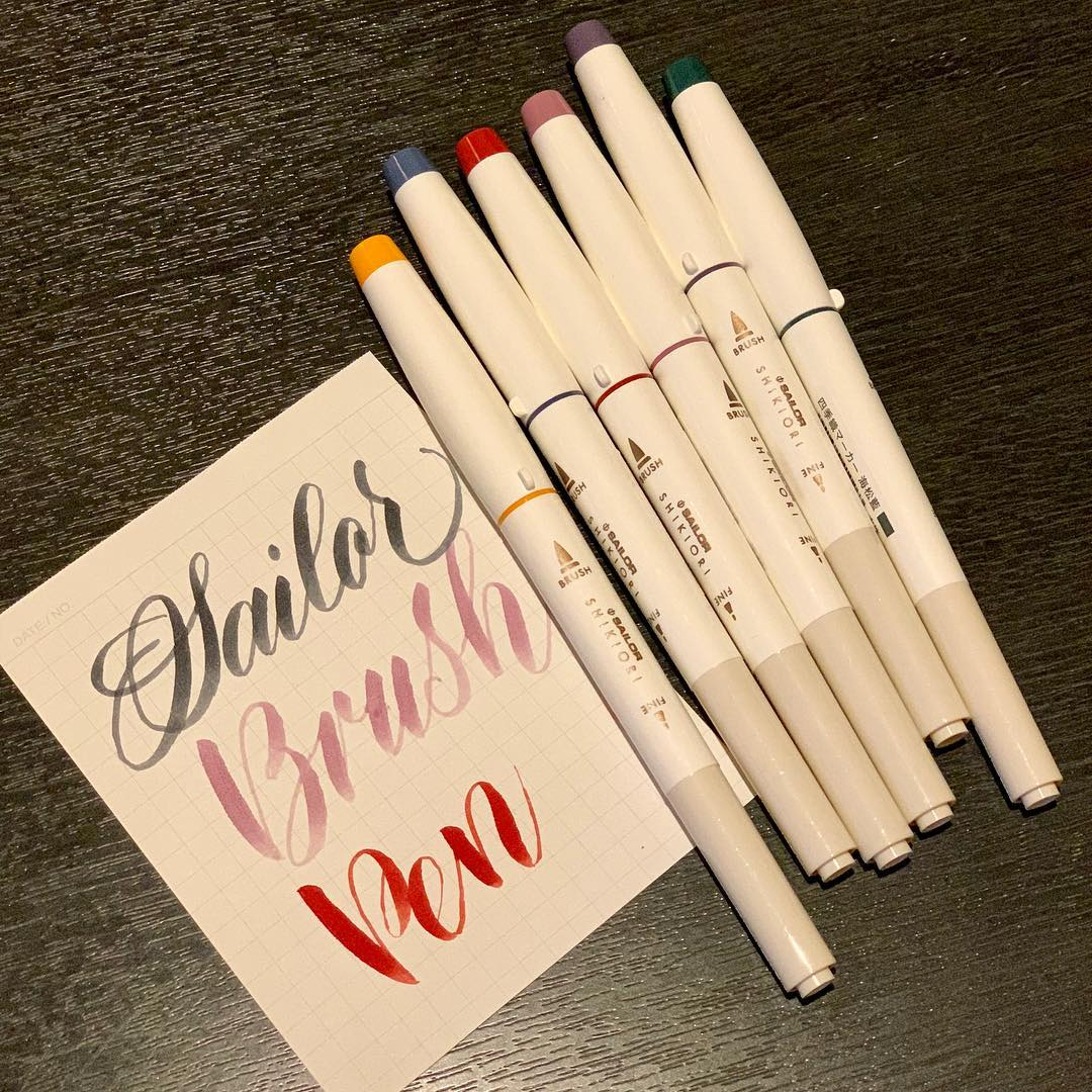 JIANWU 2019NEW 1pcs Japanese SAILOR Cute Four Seasons Color Pigment Brush Pen Kawaii Art Marker Pen Bullet Journal Pen