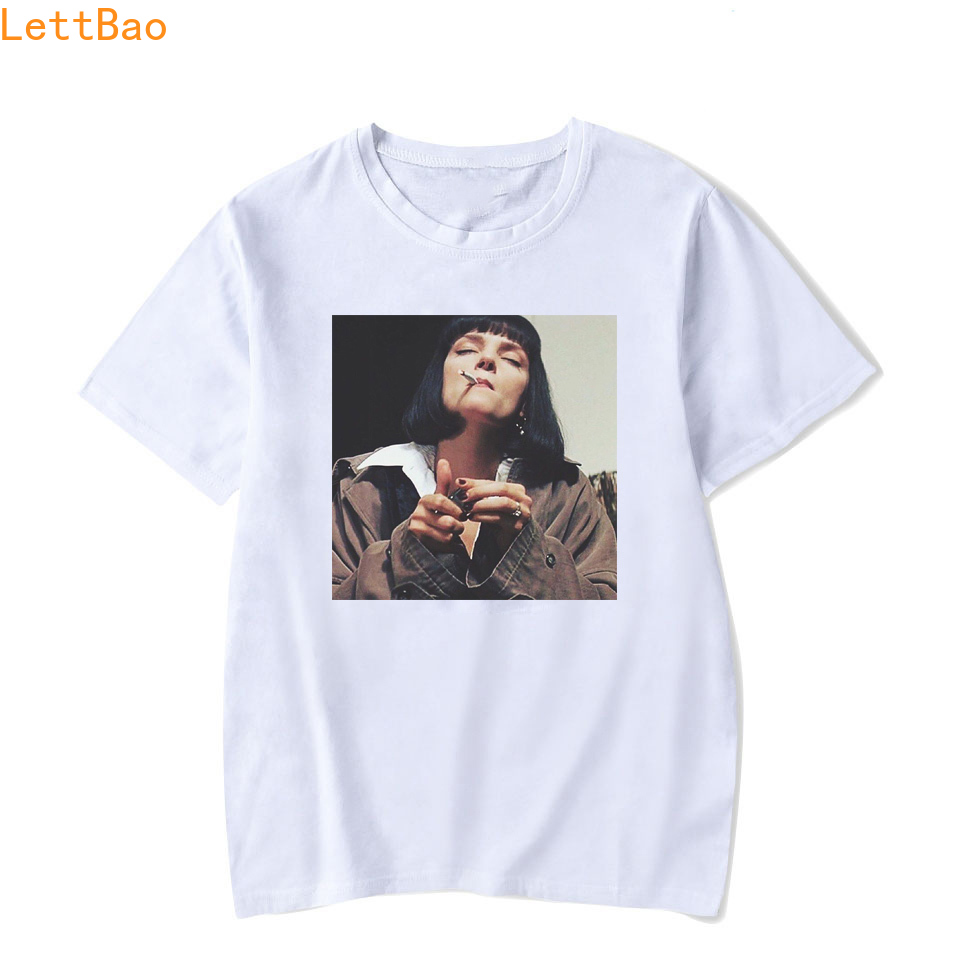 Men's Movie Pulp Fiction Cotton   T     Shirt   2019 Summer funny   T     shirts   Boyfriend Gift vogue vintage style 90s aesthetic tshirt homme