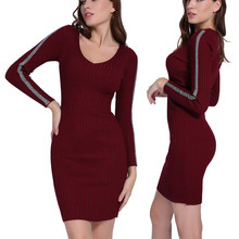 3e12172f93 Canalé de manga larga suéter vestido de las nuevas mujeres de primavera  rayas elástico de Patchwork · 7 colores disponibles