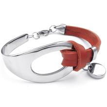 Jewelry Ladies Bracelet, Classic Bangle, Leather Stainless Steel, Red Silver