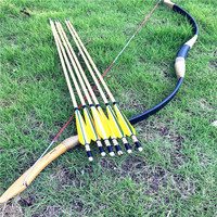 20 60lbs indoor real photos black bow wooden arrows tip for archery lovers+6 yellow and green wooden arrows