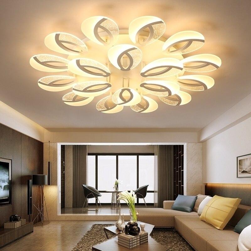 Plafond moderne à LEDs lumière fleur plafonniers pour salon salle à manger luminaire chambre télécommande lampe éclairage