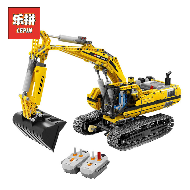 LEPIN 20007 Technic Series Engineering Excavator DIY Set Model Building Kits Blocks Bricks Children Toys Christmas Gift 8043 ynynoo lepin 02043 stucke city series airport terminal modell bausteine set ziegel spielzeug fur kinder geschenk junge spielzeug