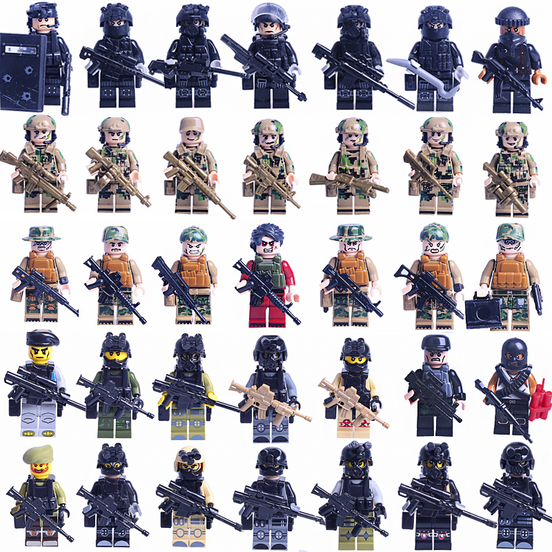 35PCS LegoINGLy SWAT army army SWAT team anti-army soldiers with weapons WW2 leedslys building blocks children's toys Christmas цена