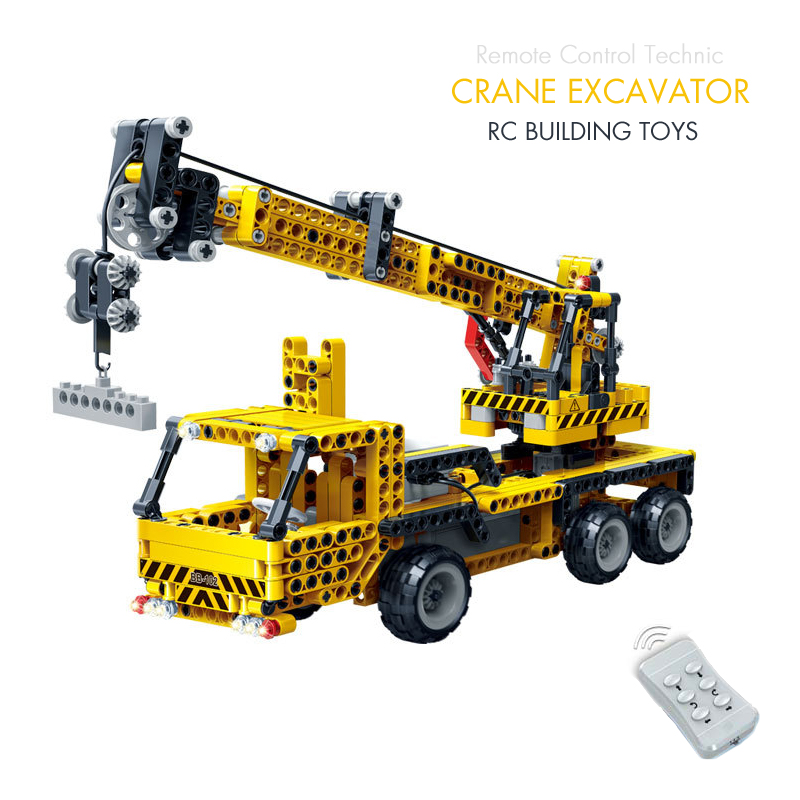 все цены на Pandadomik Building Kit Technic RC Crane Constructor Car Excavator Truck Remote Control Blocks Bricks legoingly Educational Toys