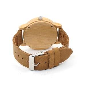 Image 4 - BOBO kuş erkek bambu saatler lüks marka hakiki deri kayış Analog ahşap Quartz saat Casual saatler bayanlar kol saati C A09