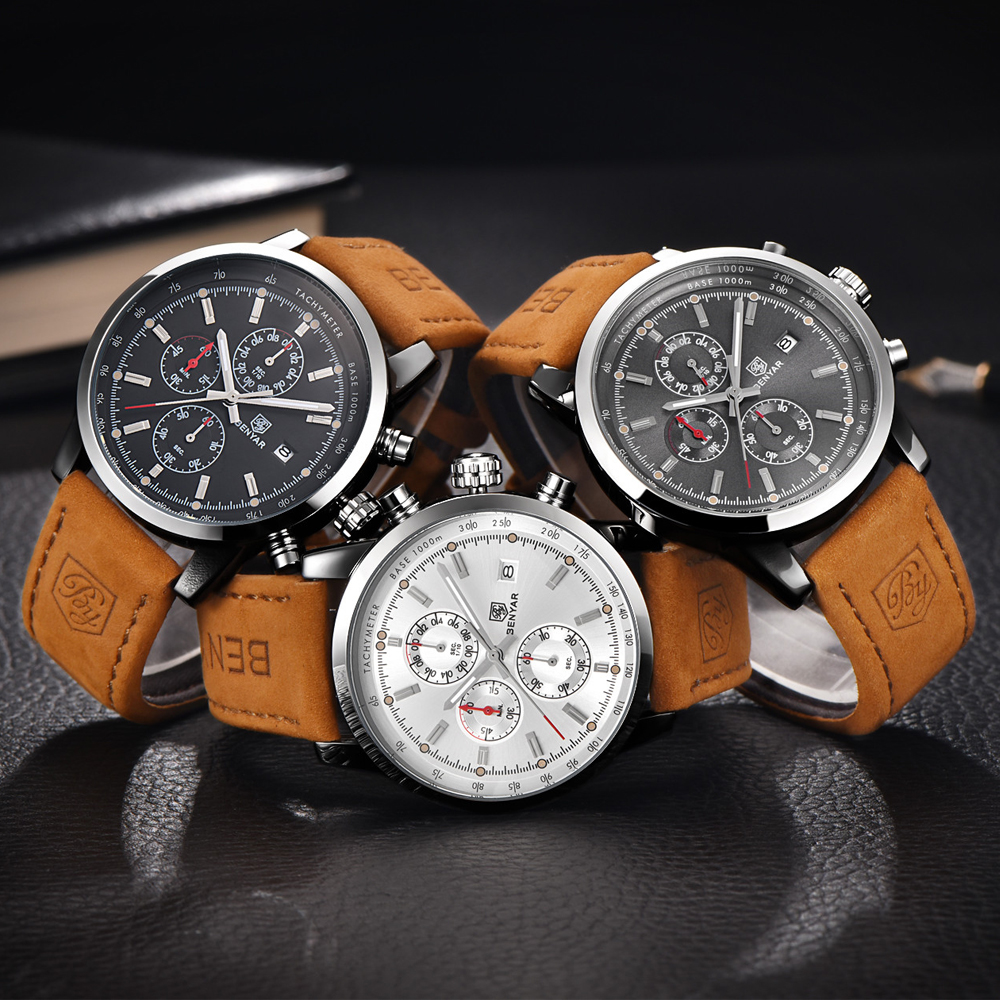Benyar Luxury Brand Men Analog Quartz Leather Sports Watches Men