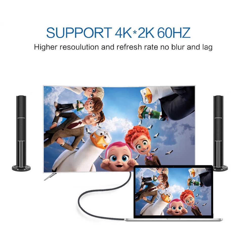QGeeM USB tipo C a HDMI Cable 4 tipo K C HDMI Thunderbolt 3 Convertidor para MacBook Huawei Mate 30 USB-C HDMI adaptador USB tipo C a HDMI