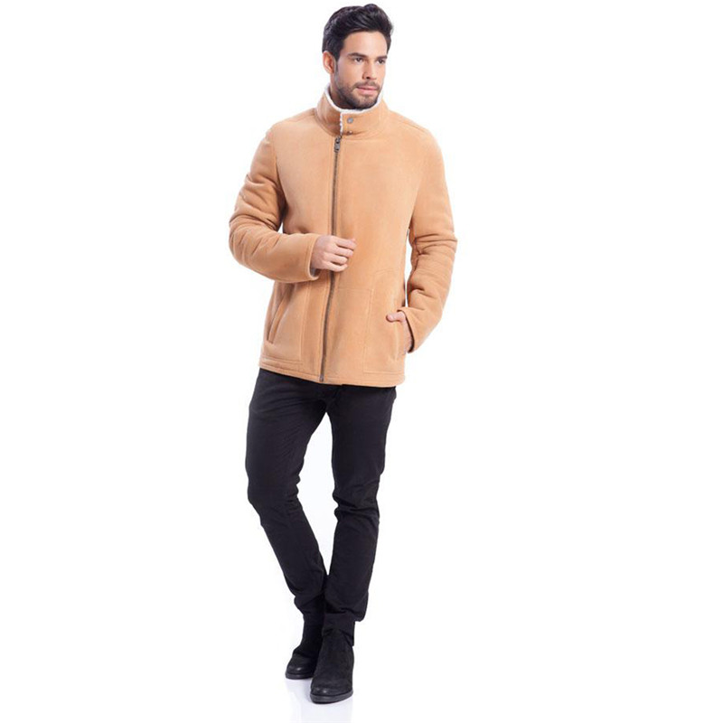 Denny&Dora Mens Brown Short Wool Coat Zipper Closure Fur Jackets for Men Wool Winter Coat Men Warm and Comfortable