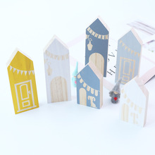 3pcs/set INS Nordic Wooden House Block Ornaments Baby Kids Room Decoration Wood Building Blocks Toys Nursery Decor Gifts Props