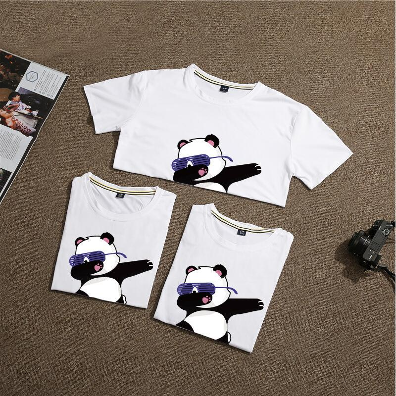 Tees Girls' Clothing Family Matching Outfits Summer 2019 Family Look Father Mother Daughter Son Boys Girls T-shirt Panda Family T Shirt Cotton