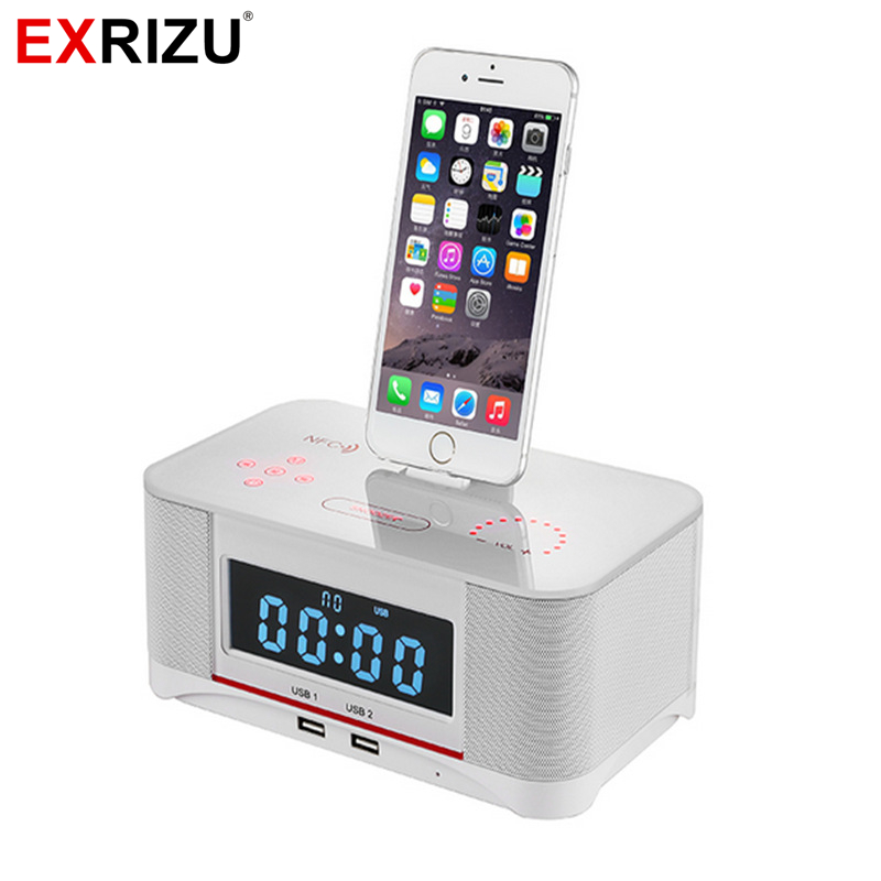 timeless design a5b66 e1e3a US $74.99 25% OFF|EXRIZU A8 Alarm Charger Dock Station Bluetooth Stereo  Speaker with NFC FM Radio Remote Control for iPhone XS 8 7 6 Plus  Samsung-in ...
