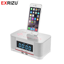 EXRIZU A8 Alarm Charger Dock Station Bluetooth Stereo Speaker with NFC FM Radio Remote Control for iPhone XS 8 7 6 Plus Samsung