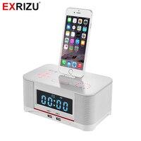 EXRIZU A8 Báo Động Trạm Dock Sạc Stereo Bluetooth Speaker với NFC FM Radio Khiển Từ Xa cho iPhone 8 6 6 s 7 Cộng Với Samsung
