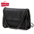 BVLRIGA Luxury handbags women bags designer fashion leather women messenger bags rivet small top-handle bags chain shoulder bag