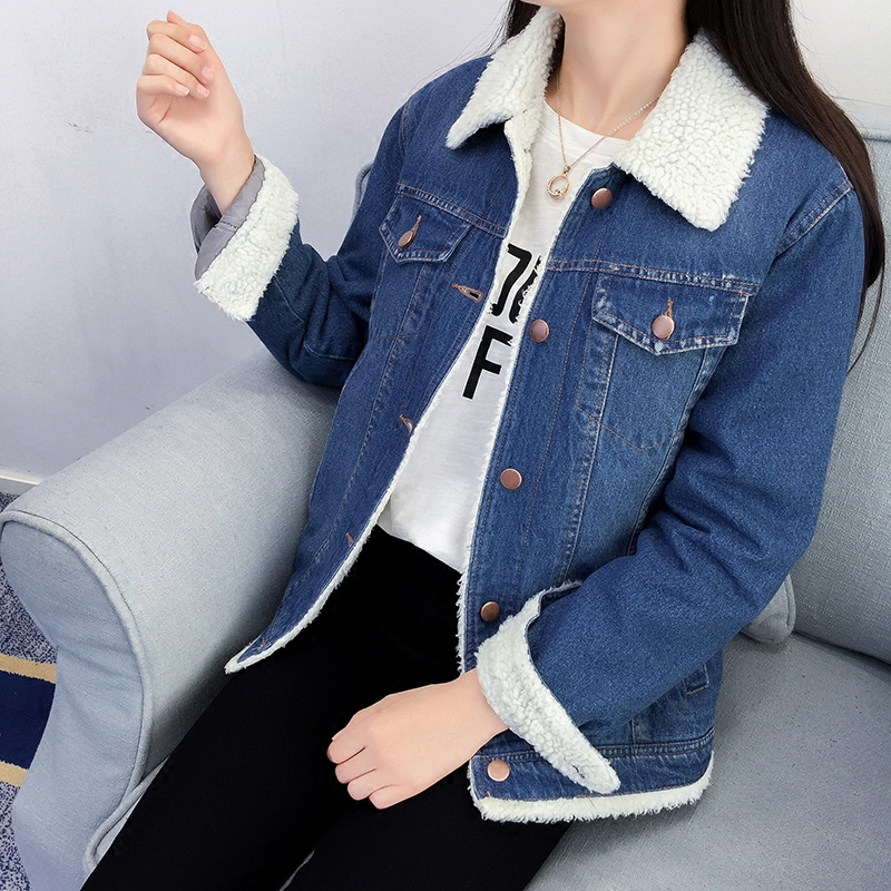 Winter lapel jean jacket coat woman Korean lamb hair thickening plus velvet denim jacket female winter loose casual cotton coat