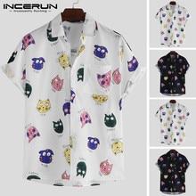 INCERUN Men Shirt Cartoon Printed Short Sleeve Loose Casual Hawaiian Summer Cool Fashion Streetwear Couple Shirts 2019