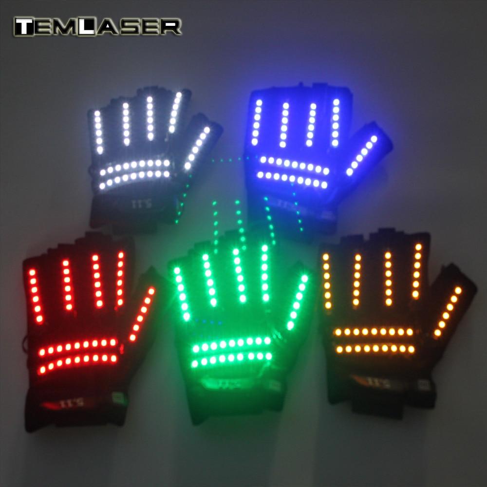 Светодиодный glow Перчатки Rave Свет мигает пальцев Освещение Glow варежки Магия Черный световой Перчатки вечерние поставляет Хэллоуин