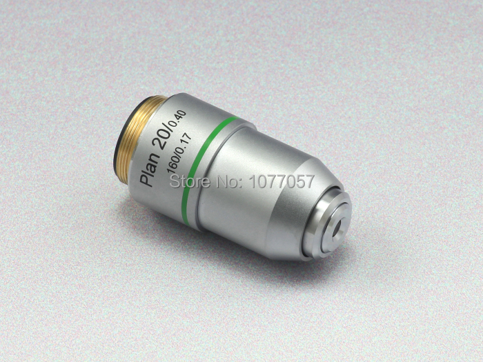 Free shipping,Top quality 20x Microscope plan Objective/plan objective 20X /WD1.16mm,DIN45mm for biological microscope brand new microscope achromatic objective lens 4x 10x 40x 100x set free shipping