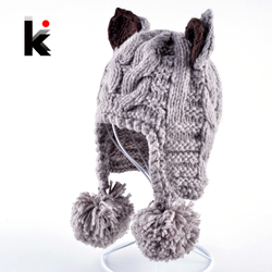 2016 lovely winter bomber women s handmade knitted hat with ears tiger cap hats for woman.jpg 250x250
