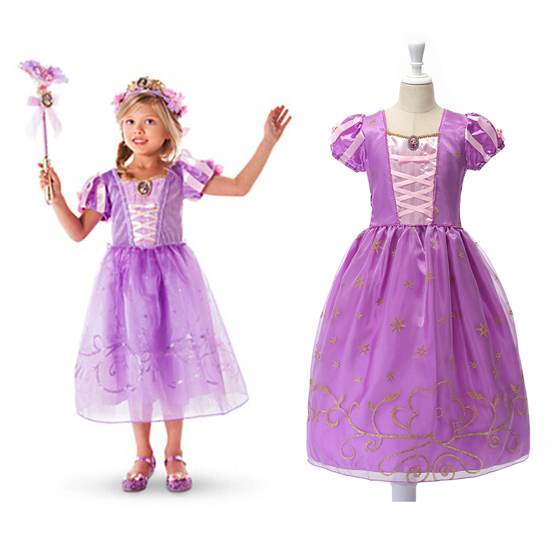Little Girl Princess Rapunzel Dress Children Ribbons Puff Sleeve Novelty Ball Gown Kids Birthday Party Halloween Cosplay Costume puff sleeve peplum top