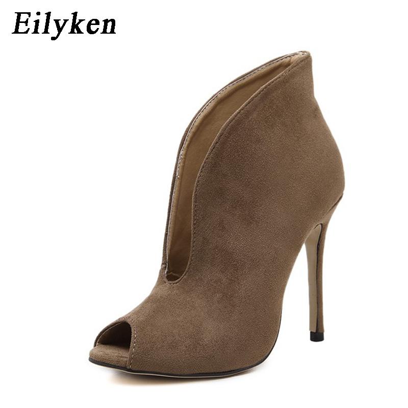 9423bdf3f Eilyken Roman Women Sandals Ankle Boots Peep Toe Designer Cut Out V ...