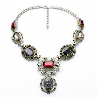 Dress Accessories Fashion Design Resin Zinc Alloy Copper Silver Chain Faceted Oval Gem Bezel Setting Pendant